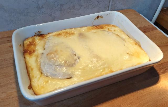 sajtos tejfölös csirkemell sütés után