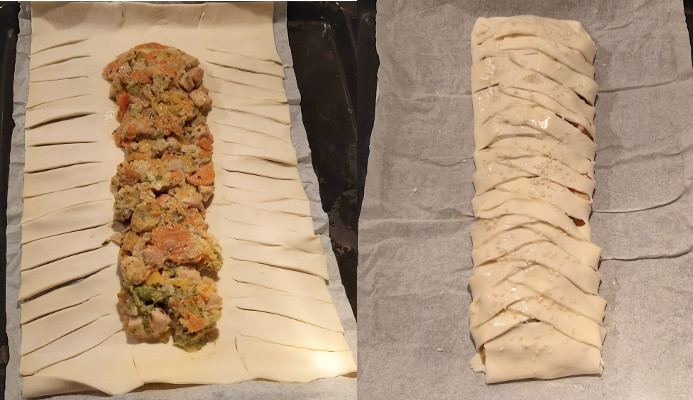 zöldséges csirkés rétes összeállítása